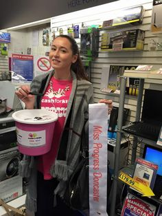 Selling raffle tickets as Miss Progress Doncaster