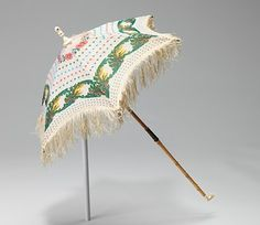 Parasol Made Of Silk, Wood, Metal, Ivory And Linen - American  c.1870