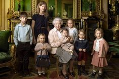 Queen Elizabeth II with her five great-grandchildren and her two youngest grandchildren