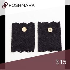 Black lace boot cuffs Simple chic black lace boot cuffs with button details . Accessories Hosiery & Socks