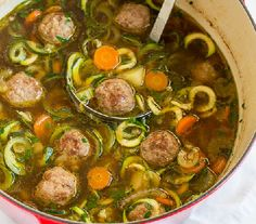Loaded with vegetables and homemade meatballs, this light, yet hearty soup comes together in less than 45 minutes. Great weeknight and weekend dinner! Dutch Recipes, Soup Recipes, Cooking Recipes, Healthy Recipes, Low Carp, Tasty Meatballs, Chicken Meatballs, Meatball Soup, Good Food
