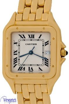 Cartier  - Panther #Cartier #Panther #WhiteDial 18k #YellowGold #SquareStyleCase with #BlueSapphireCabachonCrown
