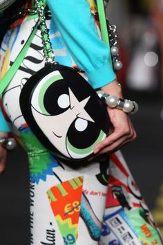 Moschino's Powerpuff Girls Bag Collection: Buttercup Crossbody Bag // Explore the whole collection: (http://www.racked.com/2015/9/29/9414983/moschino-cartoon-network-powerpuff-girls#4842298)