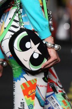 Moschino's Powerpuff Girls Bag Collection: Buttercup Crossbody Bag // Explore the whole collection: (http://www.racked.com/2015/9/29/9414983/moschino-cartoon-network-powerpuff-girls#4842298)