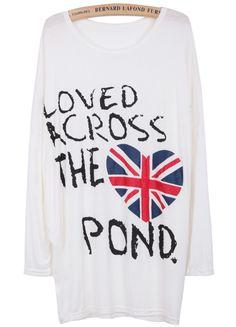 Camiseta letras corazón manga larga muriciélago-blanco