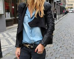 denim top + leather jacket