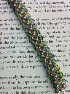 Chainmaille and Czech bead bracelet by littledragonjeweller, £45.00