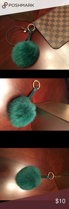 PUFF BALL KEYCHAIN ✨ Very soft faux rabbit fur keychain with leather strap and gold ring..... Purchased wholesale from a boutique in Los Angeles, Ca LA BOMBSHELL Boutique Accessories Key & Card Holders