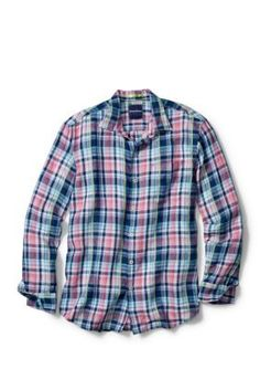 Tommy Bahama Bering Blue Big and Tall Long Sleeve Romario Plaid Shirt