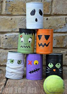 Super fun tin can bowling activity for kids this Halloween. Make this fun Halloween Craft with the kids. They are also great desk tidies and double up nicely as Halloween Pen Pots. kids crafts toddlers Super fun Tin Can Bowling Game Casa Halloween, Theme Halloween, Halloween Tags, Holidays Halloween, Happy Halloween, Classroom Halloween Party, Halloween Festival, Halloween Party Ideas, Fall Festival Games