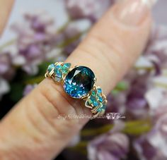 Peacock Blue Rainbow Mystic Topaz Wire Wrapped Ring Original Design Ring Fine Jewelry Unique November Birthstone Engagement Gift