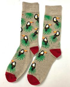 Adult Tropical Toucans And Pineapples Pattern Athletic Crew Socks