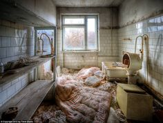 Chernobyl: Once a modern care facility, the site stands untouched as it was decades ago after the accident, containing damaged furniture, broken beds, and unwashed mattresses in different rooms