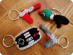 Crocheted Keychains Nintendo @Ashlee Outsen  these would be awesome!!!