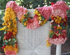 Bulky Hand Knit Scarf named Easter Flowers in multi by bpenatzer