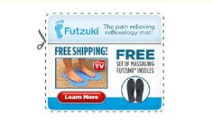 As Seen On TV Futzuki  The Pain Relieving Reflexology Mat  Stop living with foot pain and start stepping onto relief with Futzuki as it massages heels arches pads and toes. The mat sends pain relieving signals to your entire body with over 2800 reflexology points. Futzuki can help relieve plantar fasciitis heel pain arch pain and tingling while also helping the cirulation throughout the whole body.  Buy only for $19.99  Free Shipping  Free Massaging Insoles  Get This Offer!!