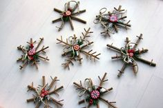 DIY Rustic Snowflake Ornaments
