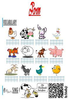 Les animaux de la ferme (Anglais/Les traces écrites)