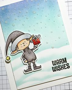 Yup, another @mftstamps elf card. Can't help it - just love this set! I also used the Falling Snow stencil from @simonsaysstamp with a bit of masking too, for the background. #copics #mftstamps #thedailymarker30day3