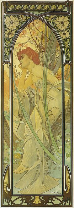 1899+4+The+Times+of+the+Day+poster+-+Evening+Contemplation+lithograph alphonse mucha