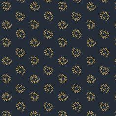 "Jo's Best Friend - Jo Morton - Andover Fabrics A 4883 B Navy Blue with  gold 1/2 wreath shape 100% cotton. 44-45"" wide  1800s Civil War"