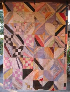 Fabulous Abstract Improvisational Antique Vintage Quilt - Great old Feedsacks.  Love the irregular and wobbly seams! Etsy, SwankyTexasVintage