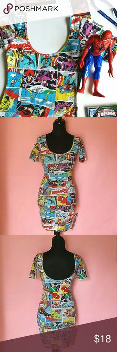 "Marvel Action Bodycon Dress Show off your love for all things super in this bodycon dress perfect for Comic-Con, featuring a scoop neck and cap sleeves. In great condition. No tears, no rips, no stains. Approx. 31"" length from shoulder. Size XS. No trades. Marvel Dresses Mini"