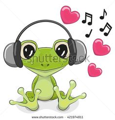 Cute cartoon Frog with headphones and hearts