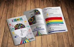 Díptico informativo sobre el concurso IDEA 2016 Branding, Ideas, Pageants, Pink, Corporate Identity, Photomontage, Editorial Design, Design Web, Blue Prints