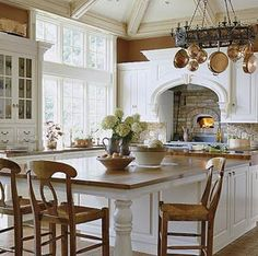 Wood countertops are a popular choice because of their durability in both wear and style. Browse this collection to find which material is the best fit for your countertops. New Kitchen, Kitchen Dining, Kitchen Decor, Kitchen Island, Cozy Kitchen, Kitchen Brick, Kitchen White, Country Kitchen, Kitchen Ideas