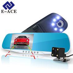 Cheapest prices US $27.60  E-ACE Automotive Car Camera Dvr Night Vision 5 Led Lights Dash Cam Rear View Mirror Dvr Two Camera Registrator Camcorde Car Cams