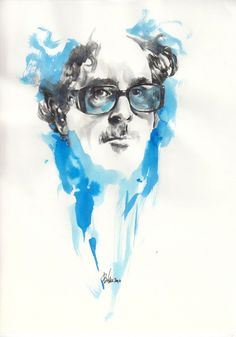 Tim Burton  Blue Ink, Parker Pen - Mitja Bokun July 2012