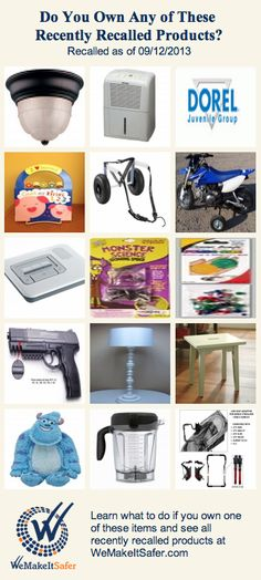 Recently recalled products, including dehumidifiers, step stools, blenders, motorcycle training wheels & more.
