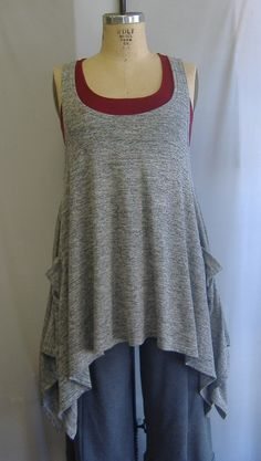 Coco and Juan Plus Size Top Lagenlook Layering Tunic Tank Top Gray White Heather Knit Size 1 Fits 1X,2X  Bust  to 50