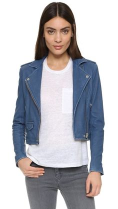 IRO Asheville leather jacket/Dirty blue