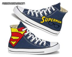 Superman Painted Shoes / Custom Converse from FeslegenDesign on Etsy. Shop more products from FeslegenDesign on Etsy on Wanelo. Custom Converse, Converse Shoes, Painted Shoes, Getting Wet, Converse Chuck Taylor, Superman, High Top Sneakers, Shoe Painting, Shopping