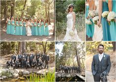 Wedding at the Hidden Creek Lodge in Twin Peaks, CA – Lake Arrowhead Newport Beach Wedding, Newborn, and Family Portraits, Photographers in Orange County, Long Bridesmaid Dresses, Strapless, Fashion, Style, Outfits, Ideas, Soft Shades of blue and green, Pleated Bodice, Chiffon, Cute, Colors, Theme, Vintage, Forest, Woods, GilmoreStudios.com