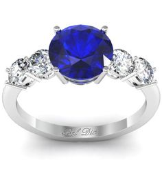 Blue Sapphire Five Stone Engagement Ring with Diamond Accents
