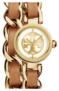 Crushing on this gold Tory Burch watch with a double wrap chain for an everyday watch.
