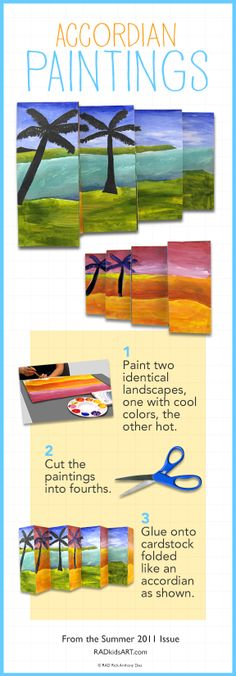 DIY Accordian Paintings. From the summer 2011 issue of FUNkidsART Magazine. © RADkidsART.com