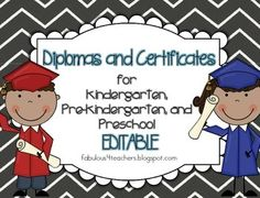 What a great keepsake for parents!! Kids will love to receive these adorable diplomas/certificates for the completion of Kindergarten, Pre-Kindergarten, and Preschool.You will have several color choices to choose from including 2 different backgrounds and 3 different gown colors. We have also added a black and white version of each certificate/diploma. Take your choice!: