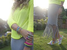 armswag, armcandy, stacked bracelets, neon, neon fashion, fringe