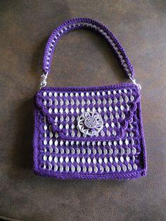Purple pop tab purse with flower
