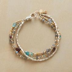 "EASY AS 1-2-3 BRACELET - Three wear-with-anything strands: sterling silver barrel beads; labradorites with 14kt goldfill beads and ring; and a mix including garnet, apatite and citrine. Lobster clasp. Handmade exclusive. 7-1/2""L."