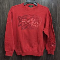 0f90c70cb vintage kenzo golf embroidery floral flower embroidery stitch design  sweatshirt / sweater / spellout / crewneck red colour