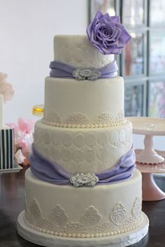 Sash Weding Cake with Pearls and Lace