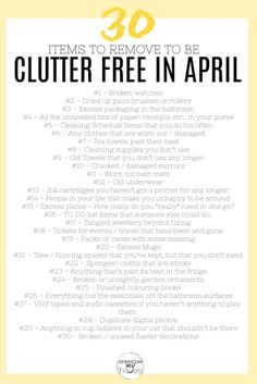 household hacks Simple printable declutter checklist (that's FREE!) of all the items to remove from your home & life in April. Get rid of the clutter now! Deep Cleaning, Spring Cleaning, Cleaning Hacks, Cleaning Lists, Weekly Cleaning, House Cleaning Checklist, Declutter Your Life, Clean Freak, Decluttering