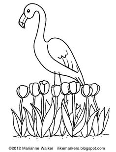 Printable flamingo coloring page. Free PDF download at