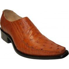 Zapatos de panza de avestruz cognac
