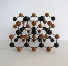 mid century molecular model graphite scientific physics geometric sculpture wood stick and ball abstract 1950s modern